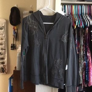 Charcoal gray embroidered hoodie size M